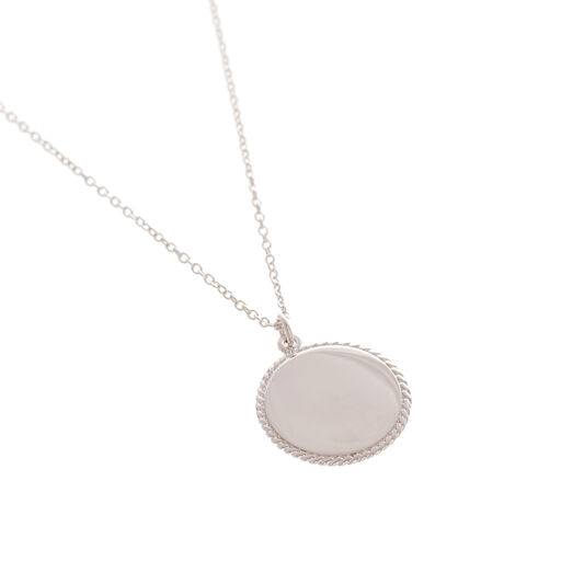 Engravable Disc Necklace Silver