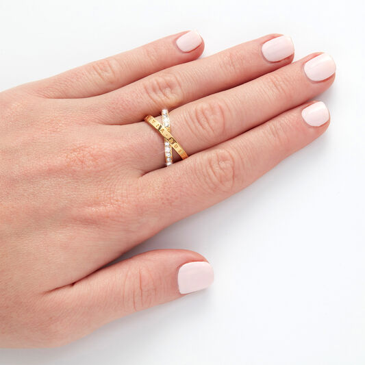 Bejewelled Interlink Ring Gold