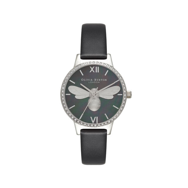 Lucky Bee Midi Sparkle Dial, Black & Silver Watch