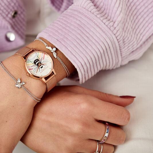 Rainbow Bee et bracelet milanais or rose