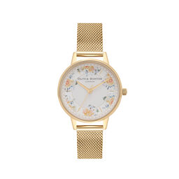 Tea Party Midi Dial Gold Mesh Watch
