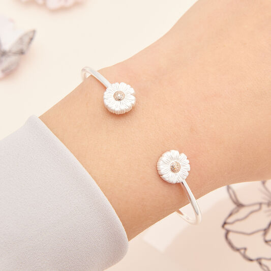 Daisy Open Ended Bangle Silver & Rose Gold