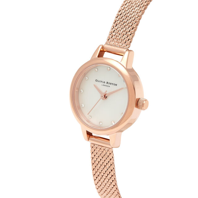 Mini White Mother Of Pearl Dial, Sparkle Markers & Rose Gold Boucle Mesh