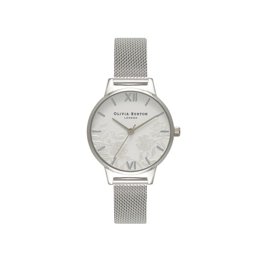 Lace Detail Silver Mesh Watch