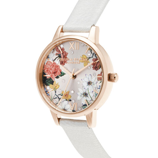 Midi Shimmer Pearl & Pale Rose Gold Watch