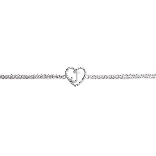 'J' Heart Initial Chain Bracelet Silver