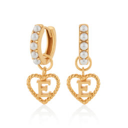 'E' Faux Pearl Heart Initial Huggie Hoop Gold