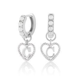 'C' Faux Pearl Heart Initial Huggie Hoop Silver