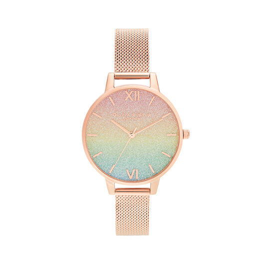Rainbow Glitter Dial & Rose Gold Mesh