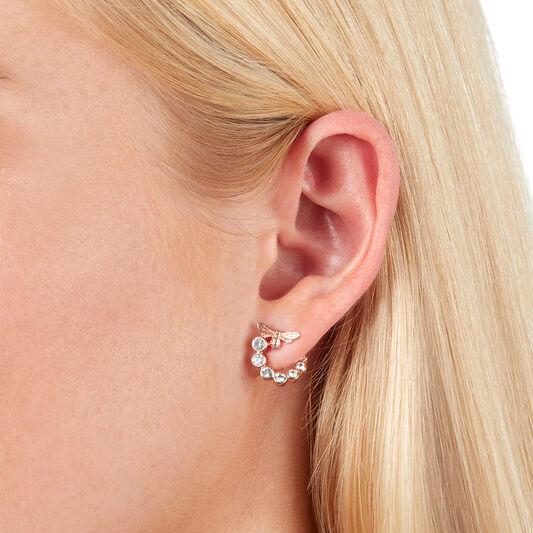 Bejewelled Lucky Bee Swirl Hoop Earrings Rose Gold
