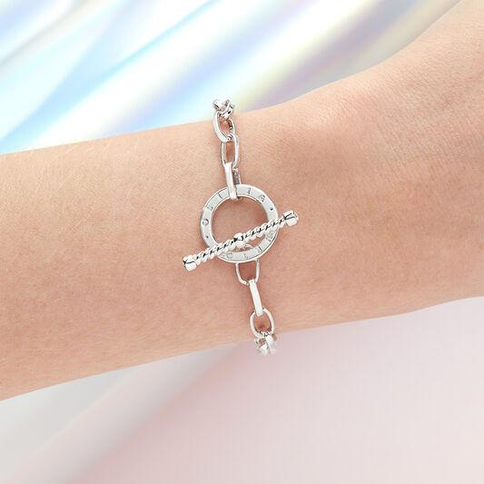 Bejewelled T-Bar Bracelet Silver