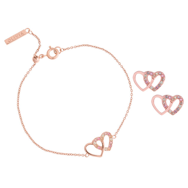 Coffret cadeau bracelet et clous d'oreilles Classics Interlink Heart or rose