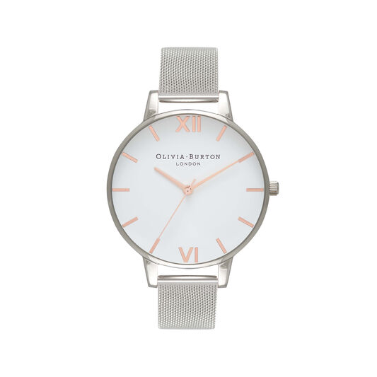 White Dial Silver Mesh Watch