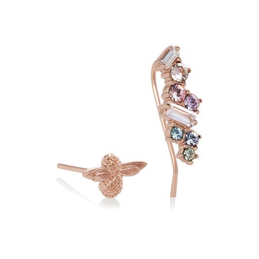 Rainbow Bee Crawler & Stud Rose Gold