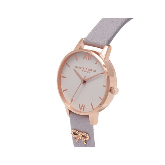 Vintage Bow Grey Lilac & Rose Gold Watch
