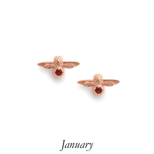 Celebration Rose Gold & Garnet Bee Studs