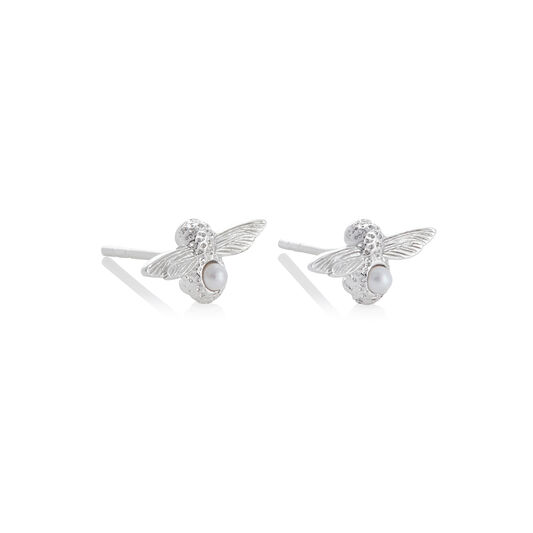 Celebration Silver & Pearl Bee Studs
