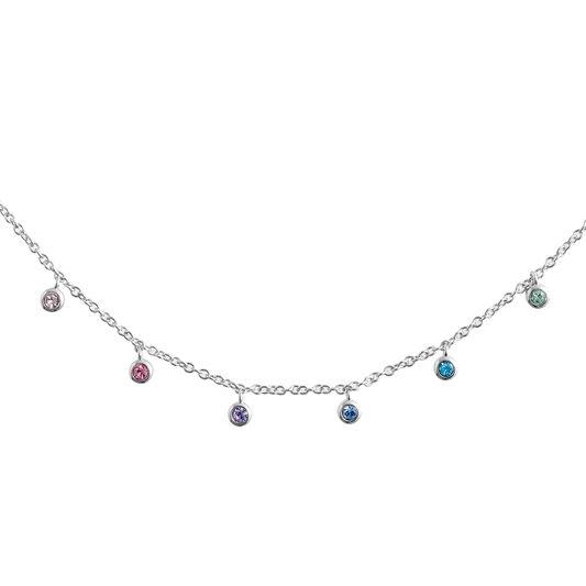 Rainbow Crystal Silver Choker Necklace