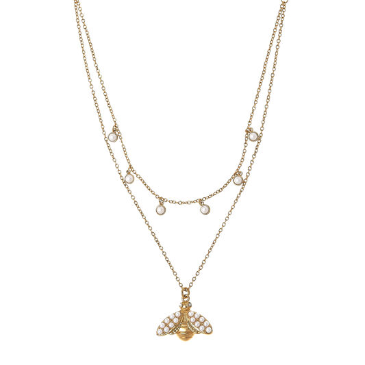 Pearl Bee Double Layer Gold Necklace