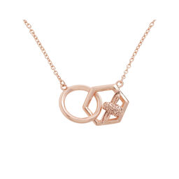 Honeycomb Bee Rose Gold Necklace