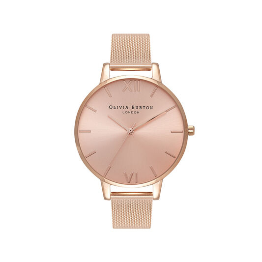Rose Gold Sunray Mesh Watch