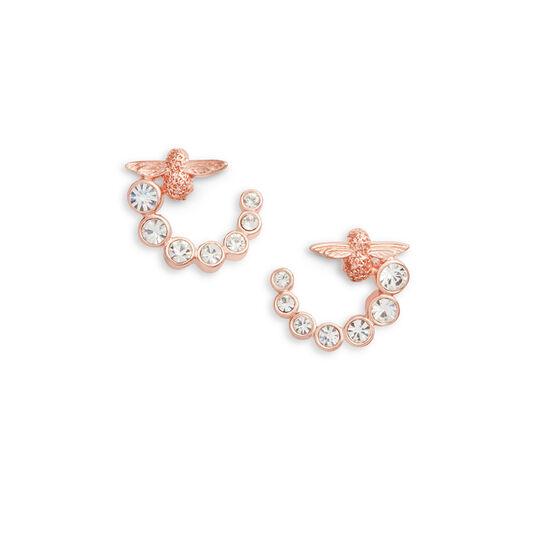 Bejewelled Bee Swirl Hoop Earrings Rose Gold