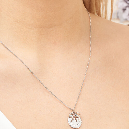 Vintage Bow Coin Necklace Silver and Rose Gold