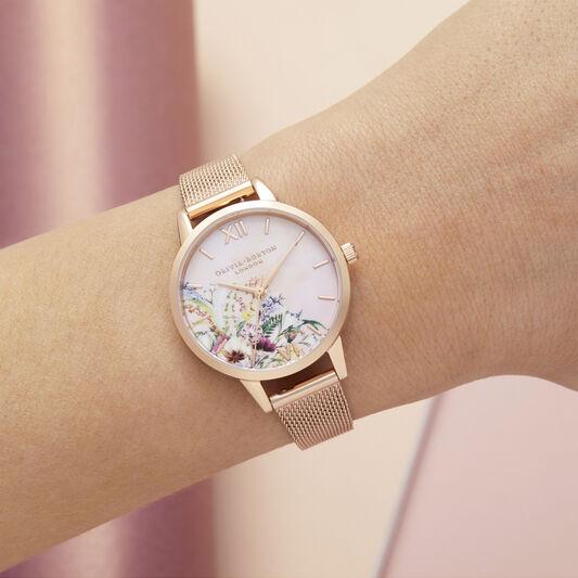 Enchanted Garden Tie Dye Dial Midi Rose Gold Mesh Watch