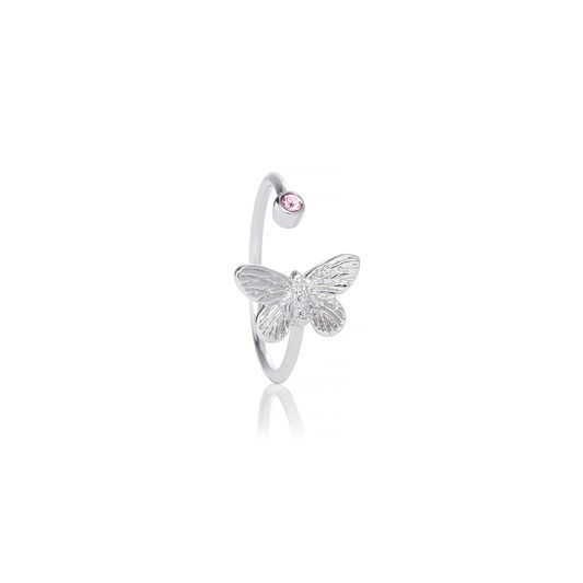 Bejewelled Butterfly Ring Silver & Pink Stone