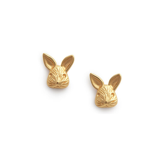 3D Bunny Studs Gold