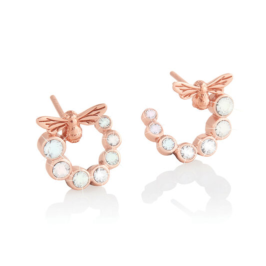 Bejewelled Lucky Bee Swirl Hoop Earrings Rose Gold