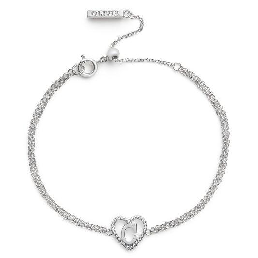 'C' Heart Initial Chain Bracelet Silver