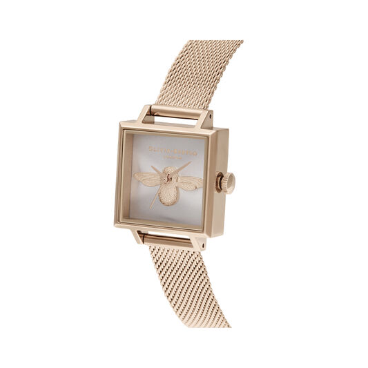 3D Bee Square Dial Blush Sunray & Pale Rose Gold