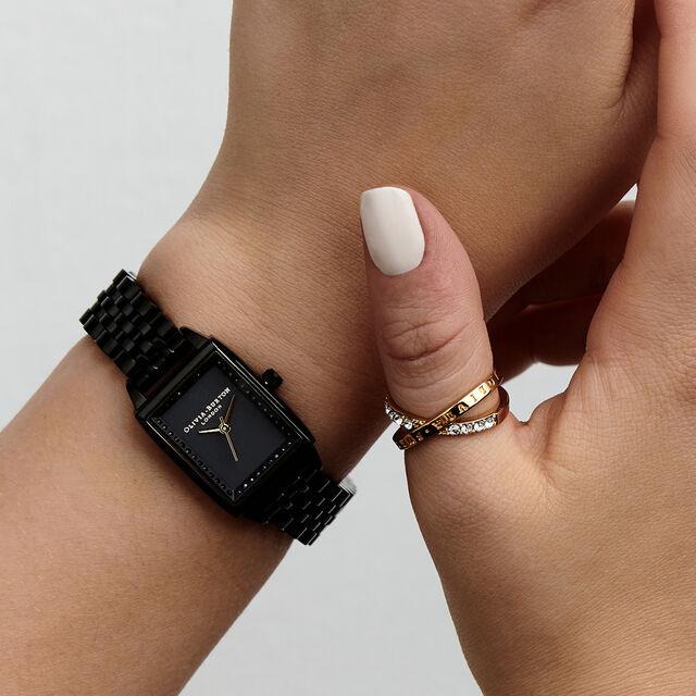 Classic Sparkle Tank Gloss Black Bracelet Watch