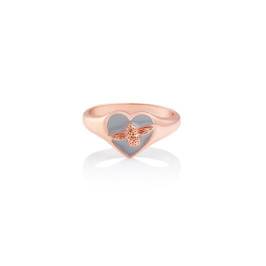 Love Bug Signet Ring Grey & Rose Gold L