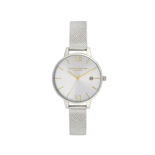 Sunray Silver & Gold Boucle Mesh Watch