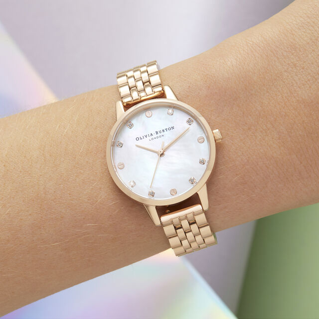 Midi Mother Of Pearl Dial  Rose Gold Bracelet Watch