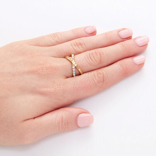 Bejewelled Classics Rainbow Interlink Ring Gold