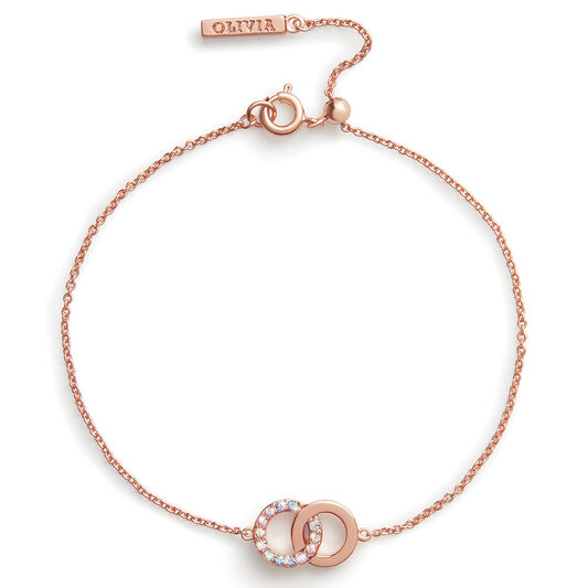 Bejewelled Classics Rainbow Interlink Chain Bracelet Rose Gold