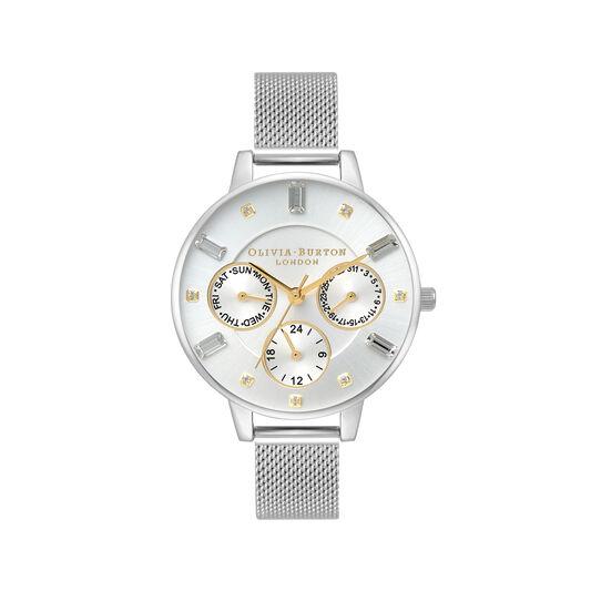 Montre Multi Function à cadran Demi et bracelet milanais or et argent