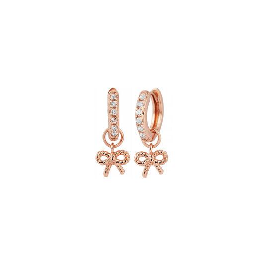 Vintage Bow Huggie Hoop Rose Gold & White Topaz Earrings