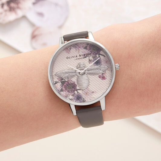 Embroidered Dial 3D Bee London Grey and Silver Watch