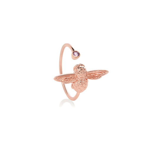 Bejewelled Bee Rose Gold & Amethyst Ring