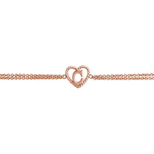 'C' Heart Initial Chain Bracelet Rose Gold
