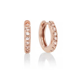 Rose Gold White Topaz Huggie Hoop Earrings