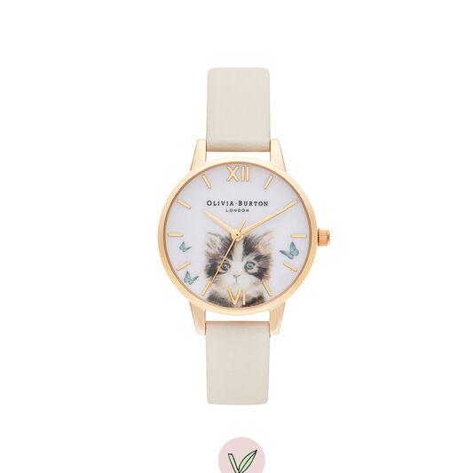 Cat Vegan Nude & Gold Watch