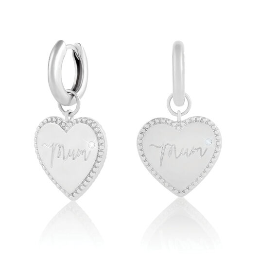 Made for Mum Huggie Hoops Silver