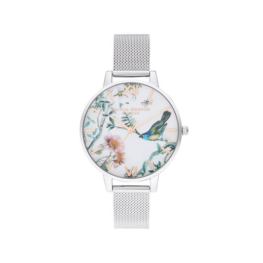 Painterly Prints Silver Mesh Watch