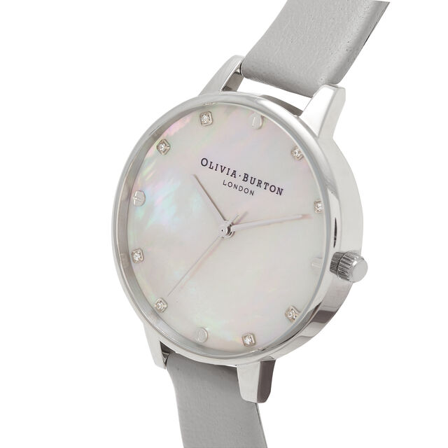 Grey Mother Of Pearl Demi Dial Grey & Silver Watch