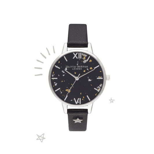 Celestial Star, Black & Silver Watch
